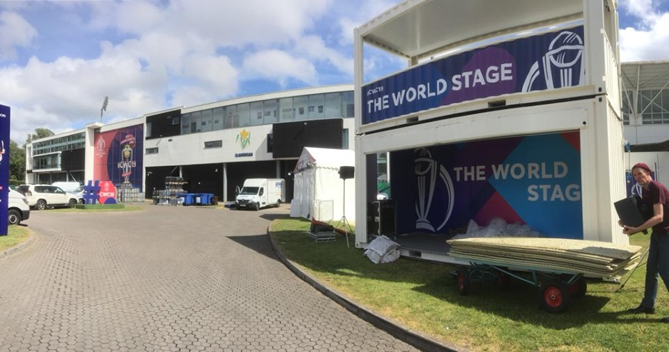Impact event shipping container for music stage at 2019 Cricket World Cup