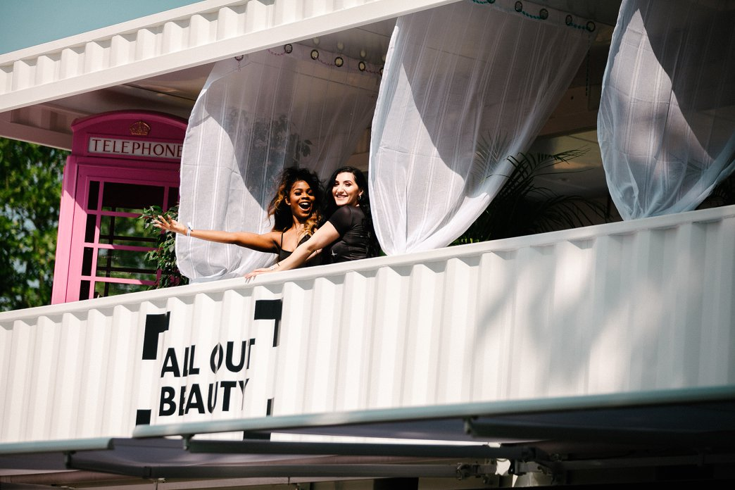 All Out Beauty custom-build shipping container structure for All Points East festival