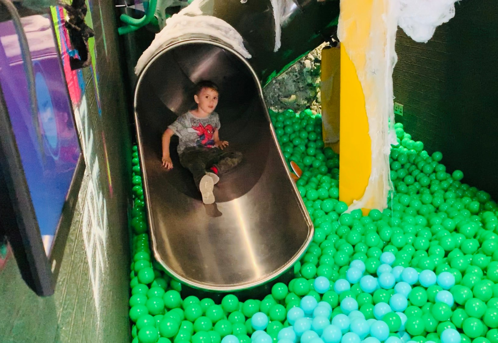A child going down a slide in Yorkshire Waters brand activation