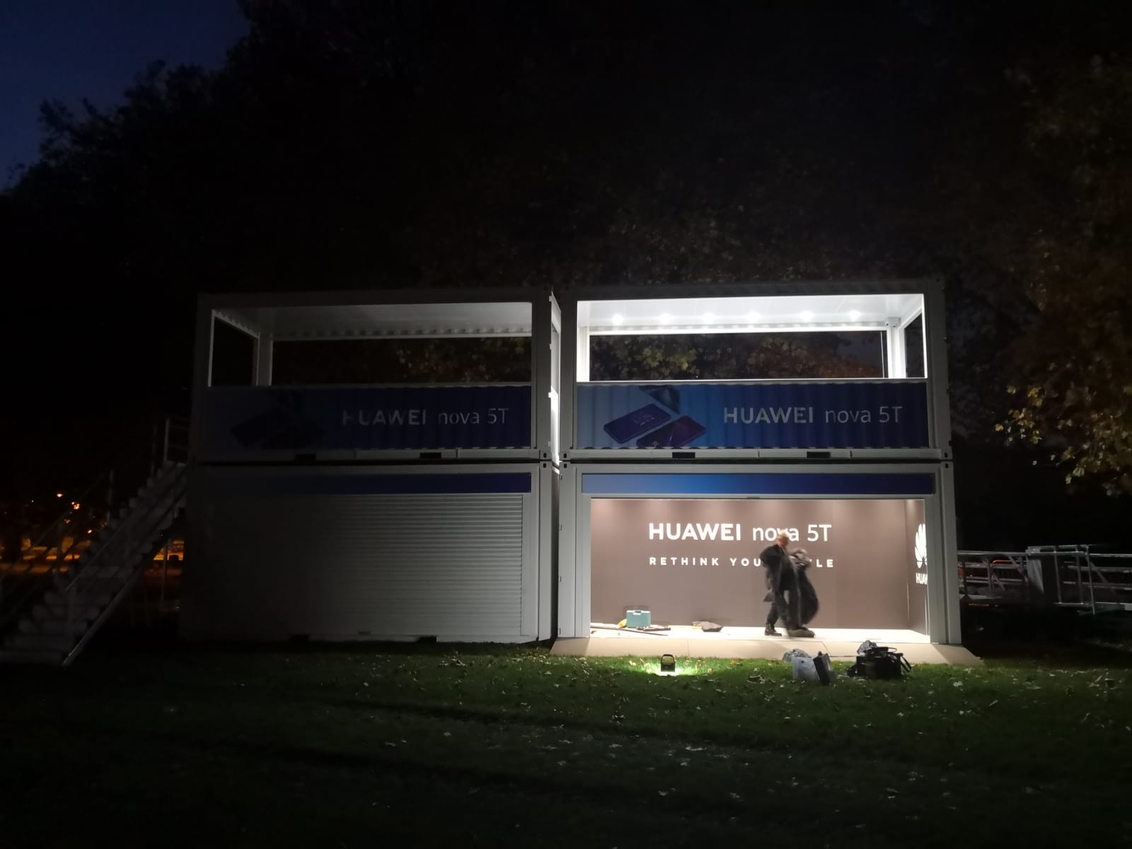 Huawei event shipping container for Battersea Park Fireworks Event