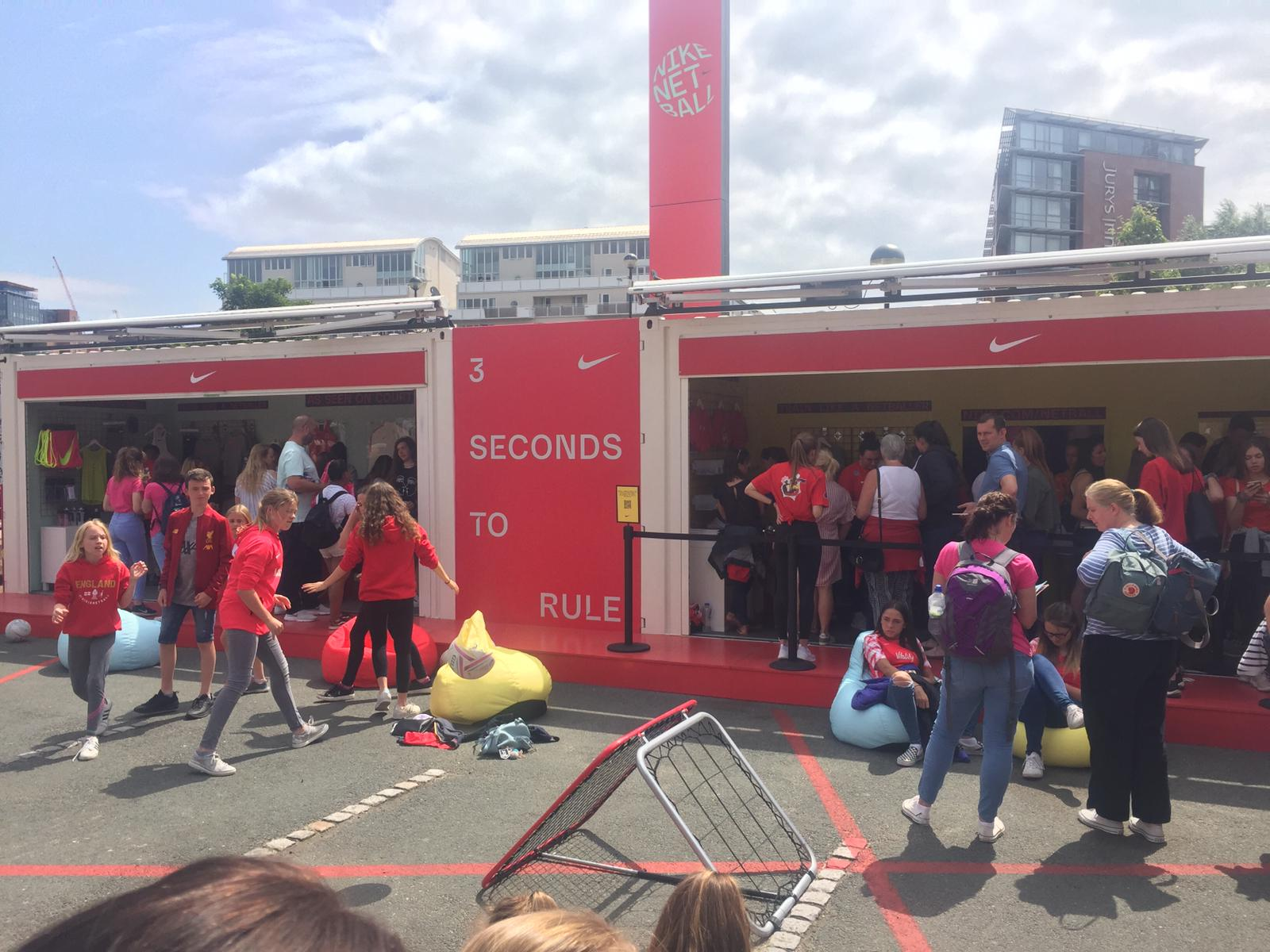 Nike brand activation in Liverpool for Vitality Netball World Cup 2019