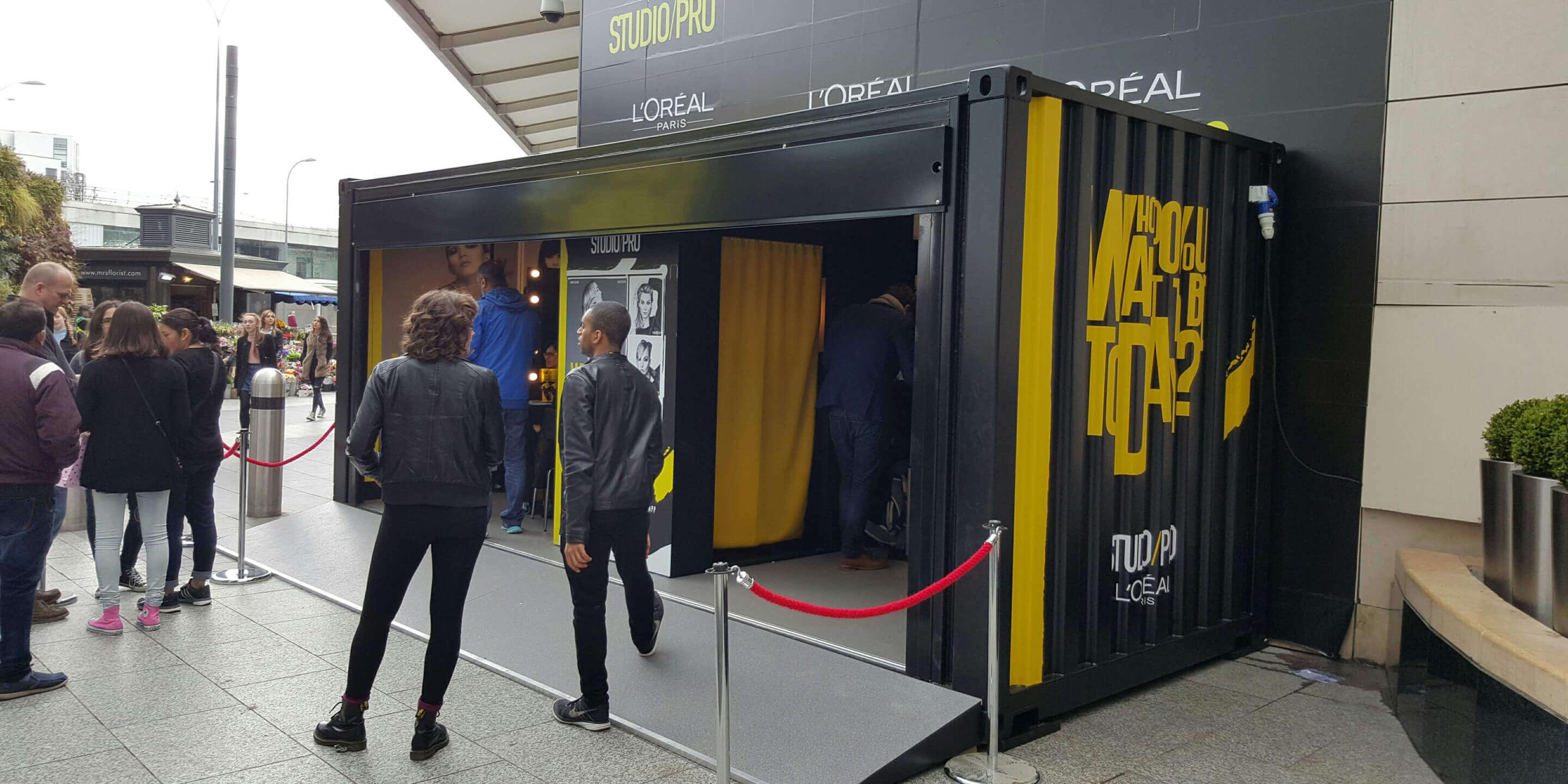Event Shipping Containers: Gallery Event Container for Loreal Activation