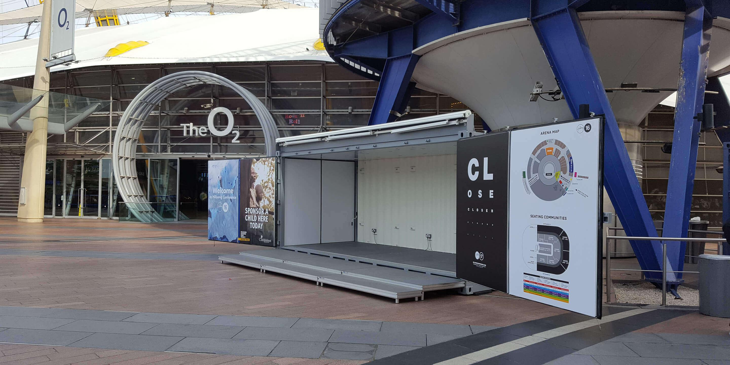 Event Shipping Containers: Studio Event Container Outside O2 Arena in London