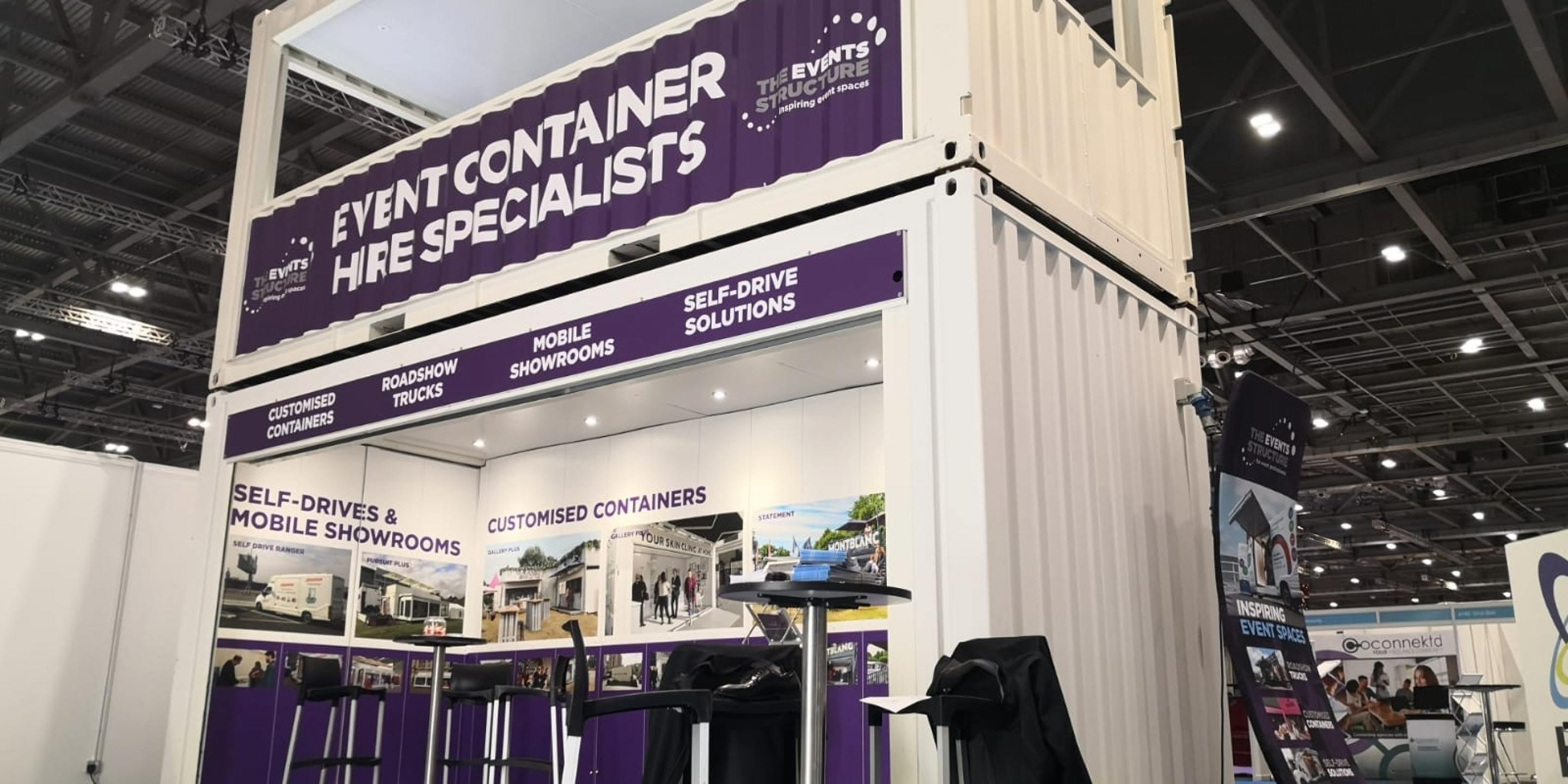 Impact Premium event shipping container conversion multi-deck at the event production show 2020