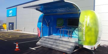 Exhibition trailers Explorer promotional vehicle for The Gym Group awareness tour on location