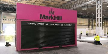 Event shipping containers Gallery event container for Mark Hill tradeshow activation