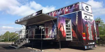 Momentum exhibition trailer on UK roadshow truck tour with client Stone Group