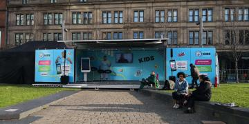 Studio Premium event container for Manchester City football club kids brand activation
