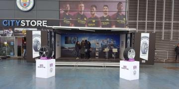 Studio Premium event shipping container for Nexen activation outside Manchester City Store