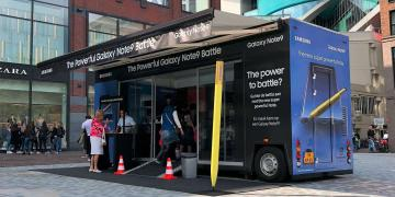 Exhibition trailer Trekker on roadshow trucks tour with Samsung promoting Galaxy 9