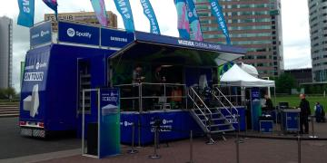 Exhibition trailer Vanquish on roadshow truck on tour with Spotify and Samsung
