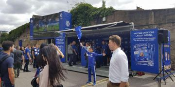 Studio Premium shipping container conversion pop-up fan site for Chelsea Football Club